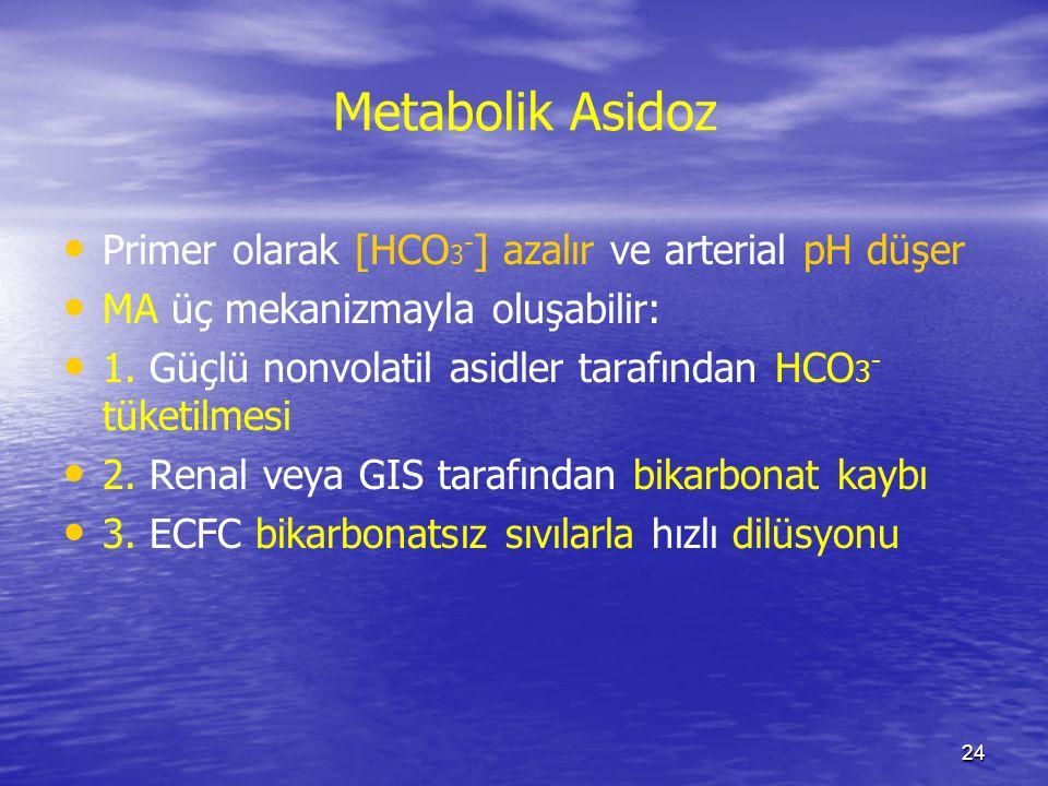 Metabolik Asidoz Primer olarak [HCO3-] azalır ve arterial pH düşer